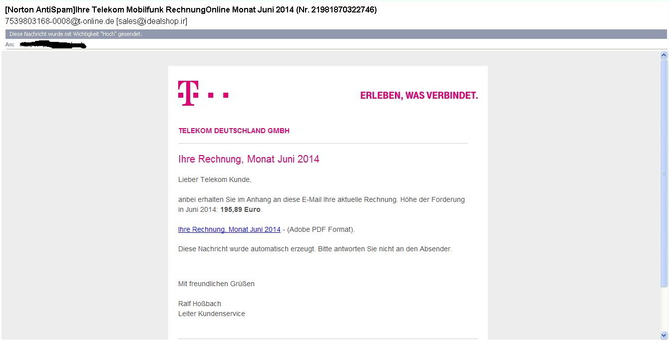 angebliche rechnung der telekom phishing. Black Bedroom Furniture Sets. Home Design Ideas