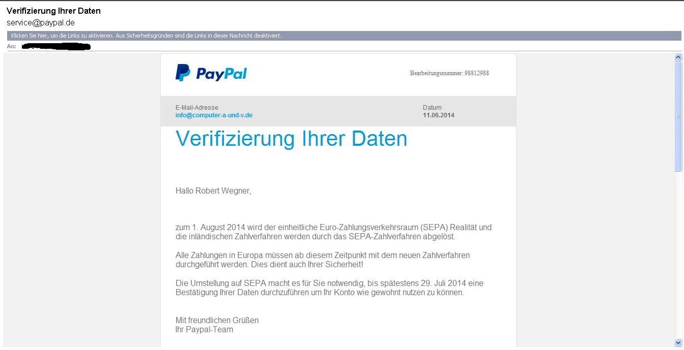 Paypal Email Verifizierung