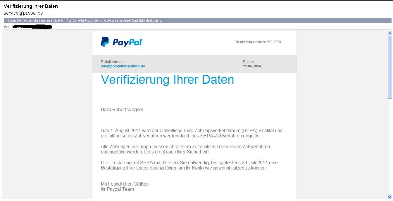 Paypal-Phishing E-Mail